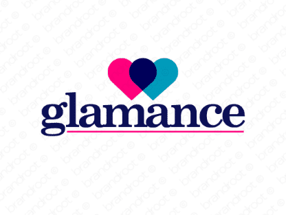 Glamance logo design included with business name and domain name, Glamance.com.