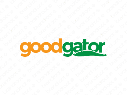 Goodgator logo design included with business name and domain name, Goodgator.com.