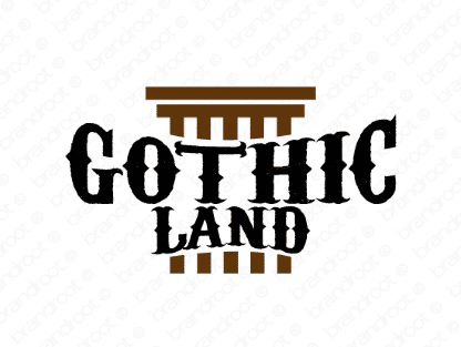 Gothicland logo design included with business name and domain name, Gothicland.com.