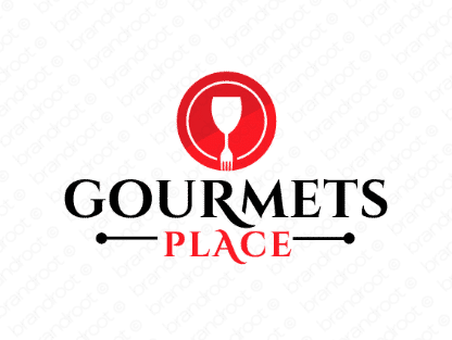 Gourmetsplace logo design included with business name and domain name, Gourmetsplace.com.