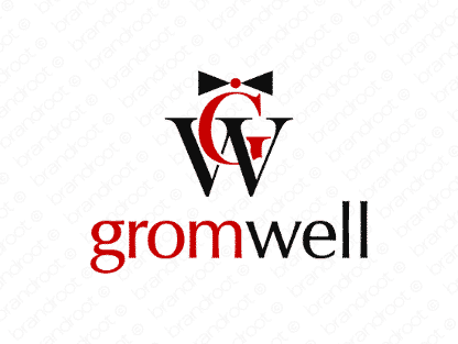Gromwell logo design included with business name and domain name, Gromwell.com.