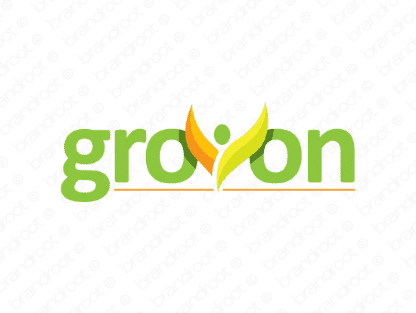 Grovon logo design included with business name and domain name, Grovon.com.