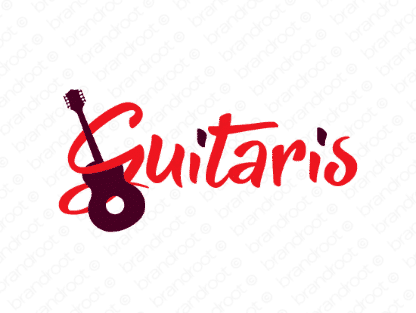 Guitaris logo design included with business name and domain name, Guitaris.com.