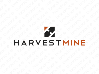 Harvestmine logo design included with business name and domain name, Harvestmine.com.