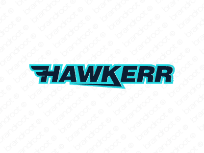 Hawkerr logo design included with business name and domain name, Hawkerr.com.