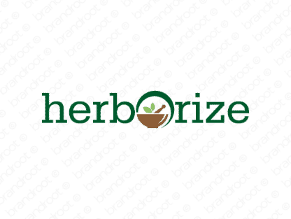 Herborize logo design included with business name and domain name, Herborize.com.
