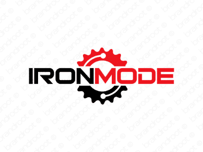 Ironmode logo design included with business name and domain name, Ironmode.com.
