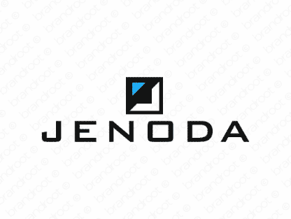 Jenoda logo design included with business name and domain name, Jenoda.com.