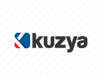 Kuzya logo design included with business name and domain name, Kuzya.com.