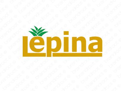 Lepina logo design included with business name and domain name, Lepina.com.