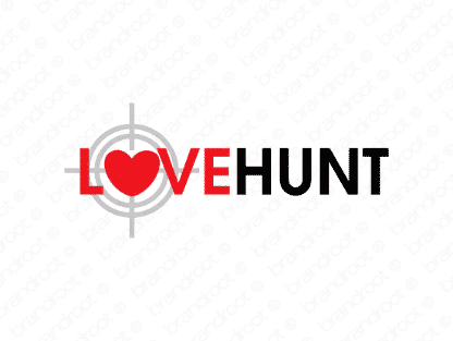 Lovehunt logo design included with business name and domain name, Lovehunt.com.