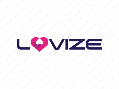 Lovize logo design included with business name and domain name, Lovize.com.