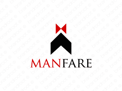 Manfare logo design included with business name and domain name, Manfare.com.