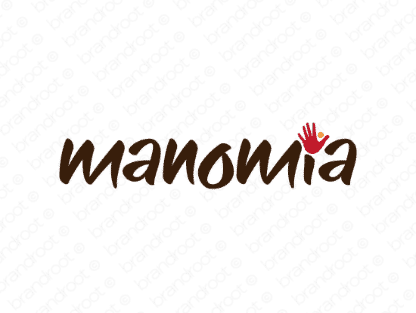 Manomia logo design included with business name and domain name, Manomia.com.