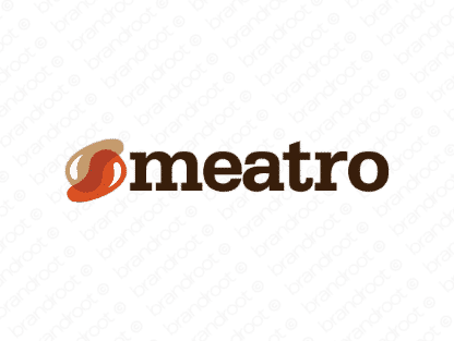 Meatro logo design included with business name and domain name, Meatro.com.