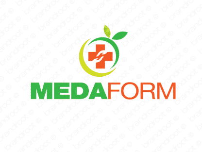 Medaform logo design included with business name and domain name, Medaform.com.