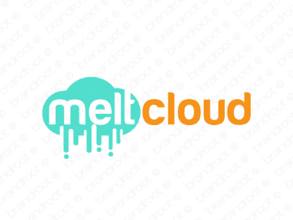 Meltcloud logo design included with business name and domain name, Meltcloud.com.