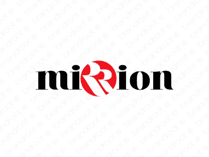 Mirrion logo design included with business name and domain name, Mirrion.com.