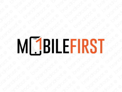 Mobilefirst logo design included with business name and domain name, Mobilefirst.com.