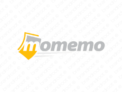 Momemo logo design included with business name and domain name, Momemo.com.