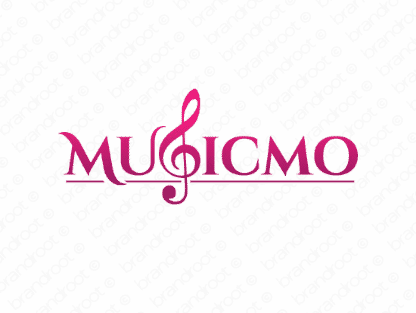 Musicmo logo design included with business name and domain name, Musicmo.com.