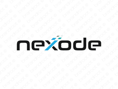 Nexode logo design included with business name and domain name, Nexode.com.