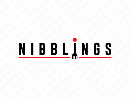 Nibblings logo design included with business name and domain name, Nibblings.com.