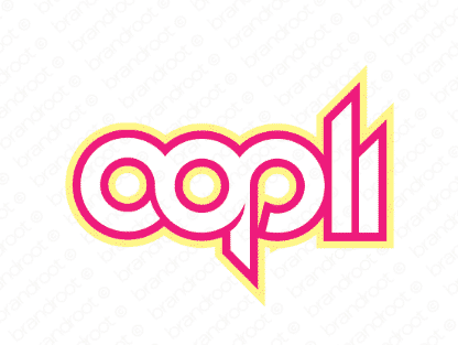 Oopli logo design included with business name and domain name, Oopli.com.