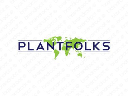Plantfolks logo design included with business name and domain name, Plantfolks.com.