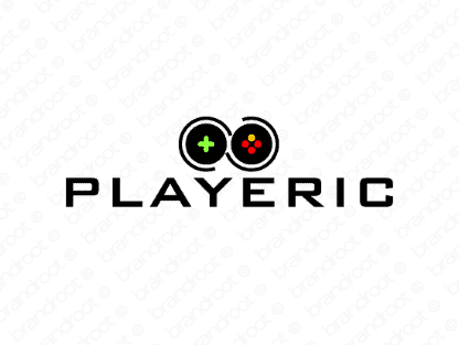 Playeric logo design included with business name and domain name, Playeric.com.