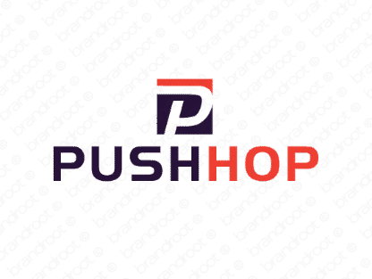 Pushhop logo design included with business name and domain name, Pushhop.com.