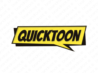 Quicktoon logo design included with business name and domain name, Quicktoon.com.