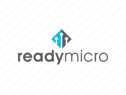 Readymicro logo design included with business name and domain name, Readymicro.com.