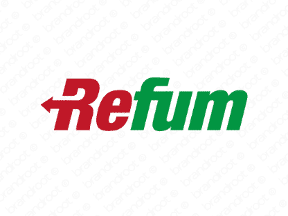 Refum logo design included with business name and domain name, Refum.com.