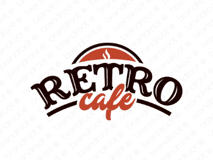 Retrocafe logo design included with business name and domain name, Retrocafe.com.