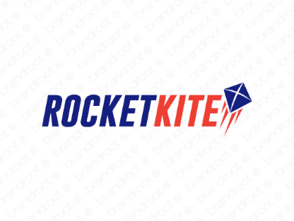 Rocketkite logo design included with business name and domain name, Rocketkite.com.