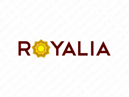 Royalia logo design included with business name and domain name, Royalia.com.