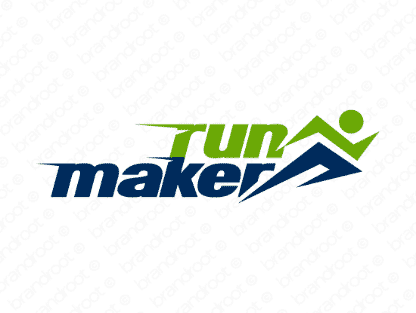 Runmaker logo design included with business name and domain name, Runmaker.com.