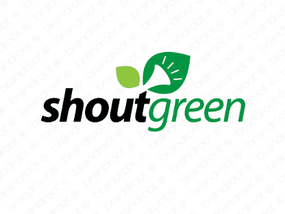 Shoutgreen logo design included with business name and domain name, Shoutgreen.com.