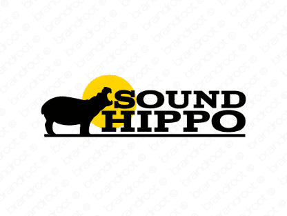 Soundhippo logo design included with business name and domain name, Soundhippo.com.