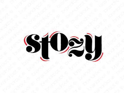 Stozy logo design included with business name and domain name, Stozy.com.
