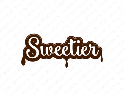 Sweetier logo design included with business name and domain name, Sweetier.com.