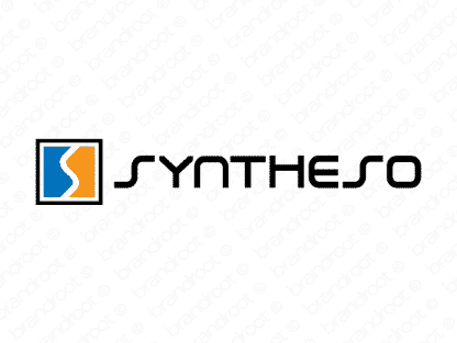 Syntheso logo design included with business name and domain name, Syntheso.com.