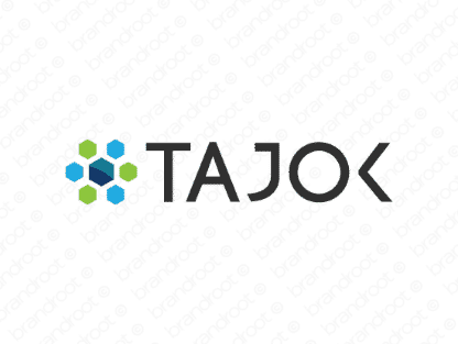Tajok logo design included with business name and domain name, Tajok.com.