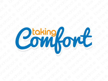 Takingcomfort logo design included with business name and domain name, Takingcomfort.com.