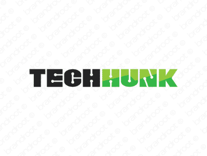 Techhunk logo design included with business name and domain name, Techhunk.com.