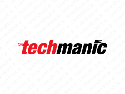 Techmanic logo design included with business name and domain name, Techmanic.com.