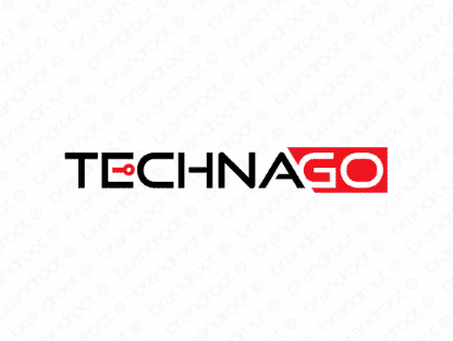 Technago logo design included with business name and domain name, Technago.com.