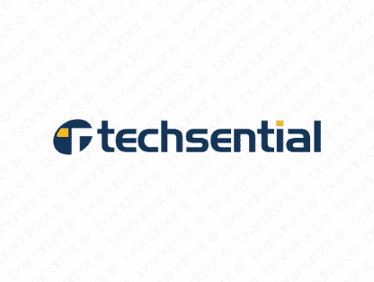 Techsential logo design included with business name and domain name, Techsential.com.