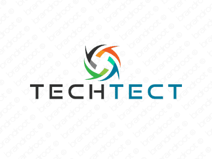 Techtect logo design included with business name and domain name, Techtect.com.